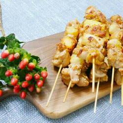 大葱煎鸡肉串