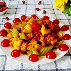 番茄菠萝鸡块